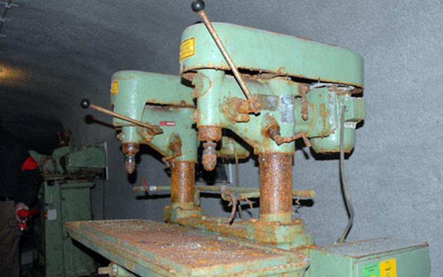 Machinery such as this drill press was used during World War II in the tunnels under Bamberg. Thousands of German workers pulled 24-hour shifts, coming and going only at midnight, all throughout the war, manufacturing things such as spark plugs and electronic parts for companies such as Bosch.