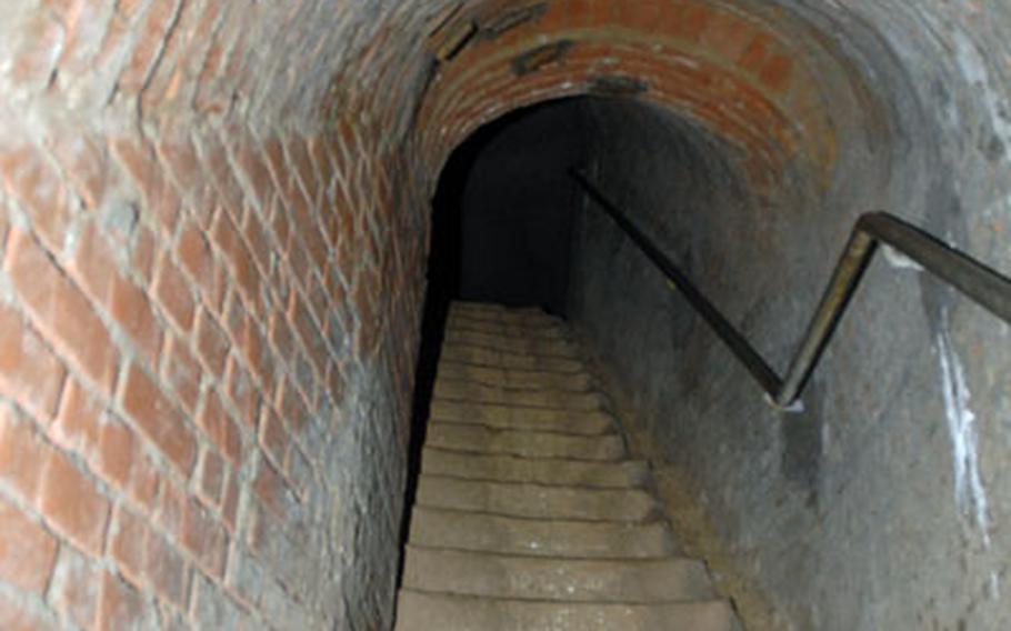 While taking the Tour Under Bamberg, you'll go down these stairs all the way to river level. Built out of brick instead of the usual sandstone, the entrance into the tunnels was made during World War II for the thousands of workers pulling 24-hour shifts underground.