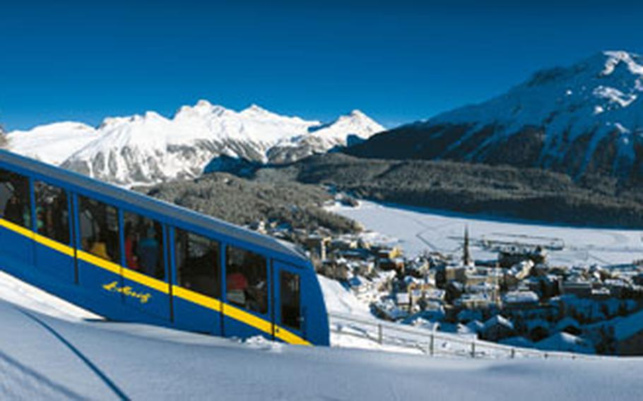 A funicular chugs up from St. Moritz to the higher slopes of the Corviglia.
