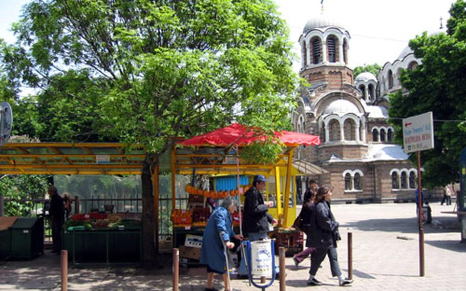 A small market is set up near the Sveti Sedmochislenitsi Church. The church was created between 1901 and 1902 through the conversion of an abandoned Ottoman mosque.