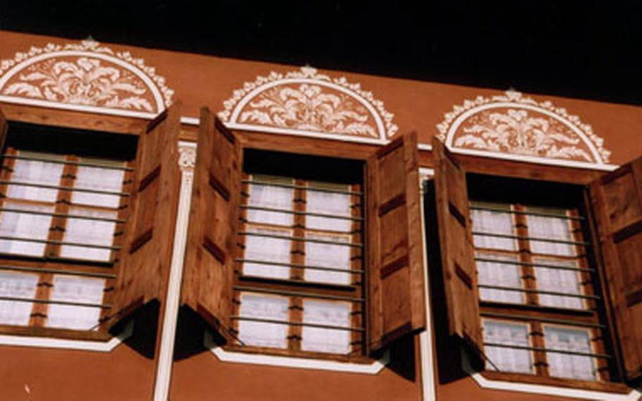 Detail of the Balabanov House, a Revival Period house built at the beginning of the 19th century. It is among the houses owned by Plovdiv's upper-crust merchants in the 18th and 19th centuries that line cobblestone streets in the Old Town.Today it's a venue for exhibitions, concerts and theatrical performances.