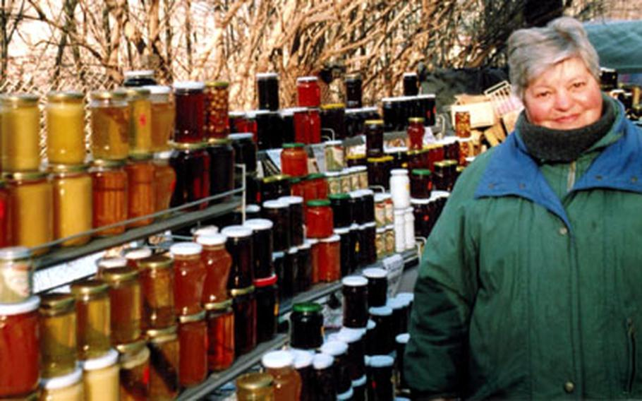 The road to the Bachkovo Monastery is lined with stands selling preserves and honey.