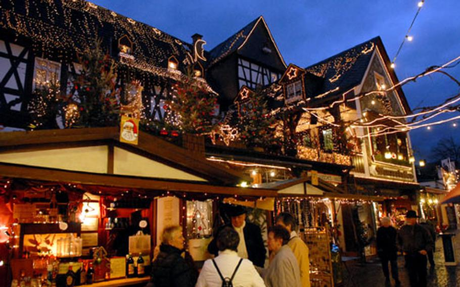 A Rüdesheim, Germany, building decked out in holiday style for the town's 2006 Christmas market.