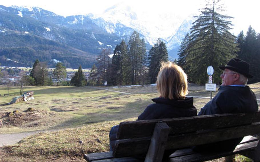 There are a lot of good places to sit and relax while walking the trails in the mountains surrounding Garmisch, Germany. Even in the winter, you can find a dry place in the sun away from the snow.