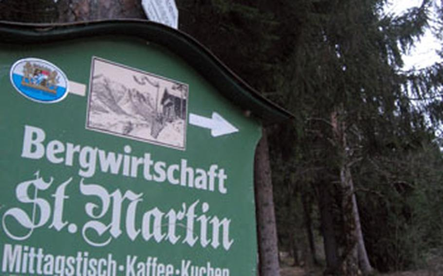 Garmisch, Gerrmany, has dozens of trails like this one leading up the hill to the Saint Martin's Hütte.
