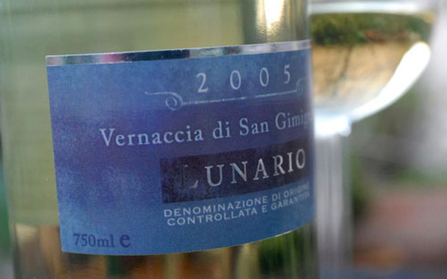 Vernaccia di San Gimignano is a white wine made from Vernaccia grapes grown in the vineyards around San Gimignano.