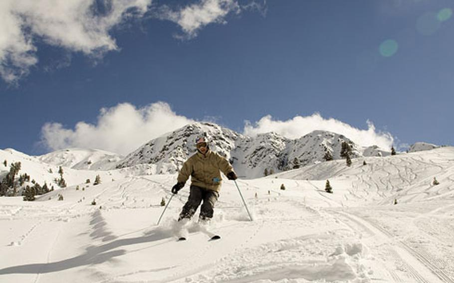 Reporter Seth Robson maneuvers down a slope at the Hochoetz ski area in Austria. Hochoetz is not as well-known or even half the size of its better-known neighbor, Sölden, but it has plenty of great snow, interesting terrain and spectacular scenery.
