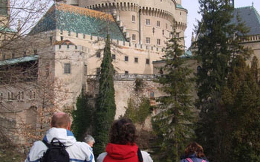 Skiers take time off from the slopes to visit the Bojnice castle, one of some 300 castles and chateaux in Slovakia.