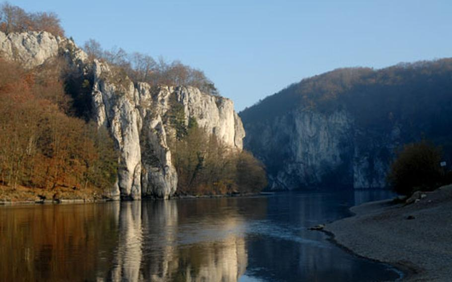 A view of the Danube River gorge seen from the Weltenburg Abbey. Boat tours through the gorge stop at the abbey and its restaurant.