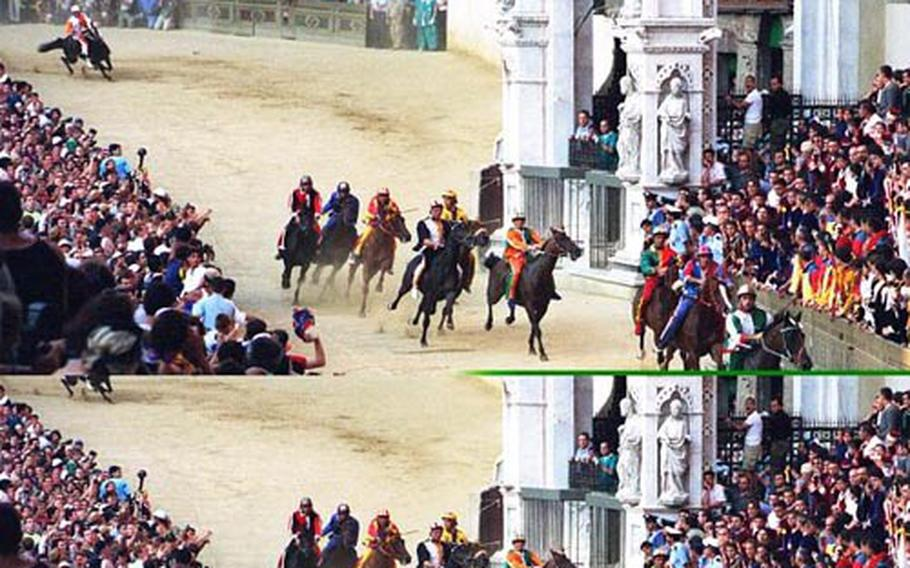 """The Palio di Siena consists of three laps around the Piazza del Campo. The race lasts about 80 seconds, and the winner receives a painted silk banner, the """"palio."""""""