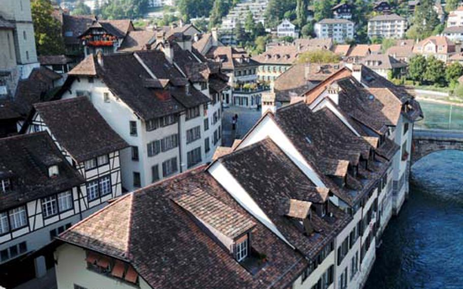 The fast-moving Aare River surrounds the lower quarter of Bern, called Matte.