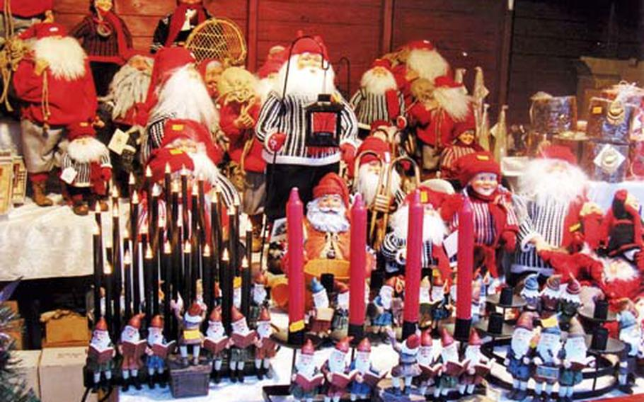 """Booths display a variety of holiday decorations from advent candles to Norwegian elves called """"nisse."""""""