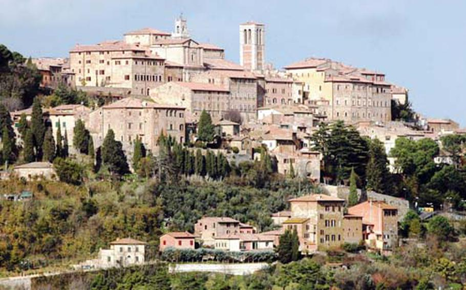 Considered one of the most beautiful hilltop towns in Italy's Tuscany region, the ancient Etruscan city of Montepulciano perches above the rolling, picture-book hills of the Val di Chiana.