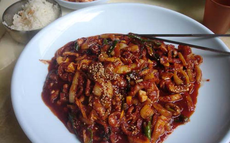 Ohjingo, or squid served with vegetables and lots of South Korea's ever-present chili pepper, is cheap and plentiful at some of the food stalls along Deokjeokdo's Seopori Beach. Grilled pork and very fresh, raw fish are also widely available.