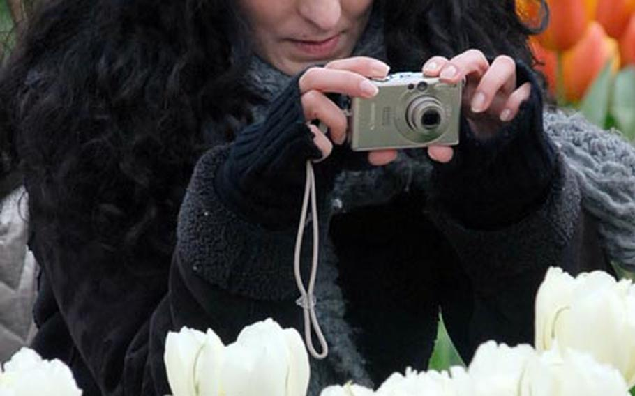 A visitor takes a photo of the flowers on display at the famed Keukenhof gardens on the outskirts of Lisse, Netherlands. The gardens are open until May 21 this year.