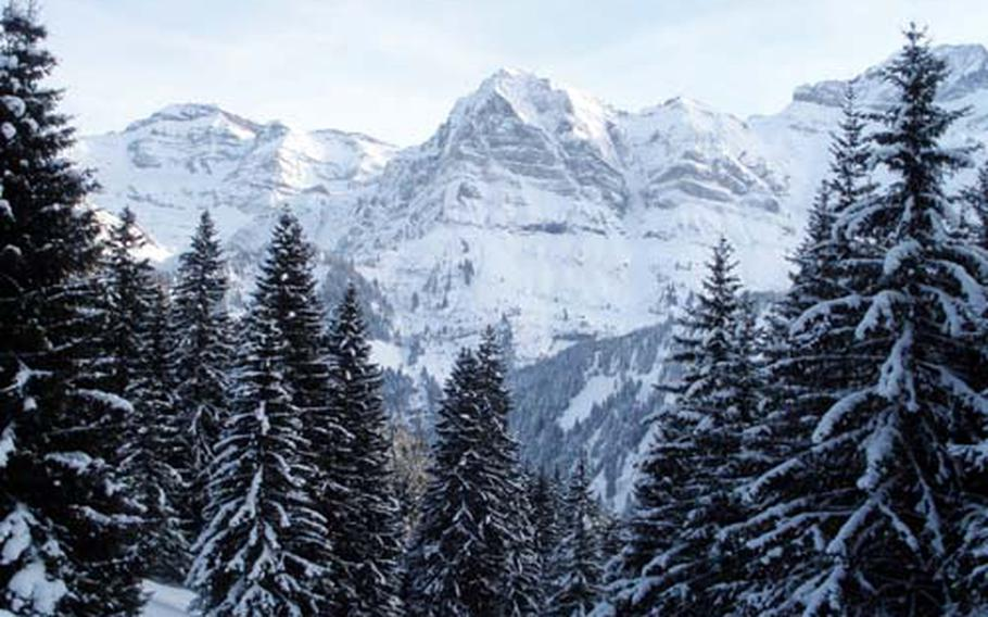 The route down from the ski area at Champery, Switzerland, offers some amazing views of the valley and surrounding peaks on the way to the Val d'Illiez.