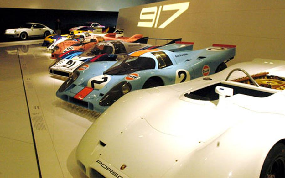 """A series of 917 race cars is one of the big attractions at the museum. The 917 dominated racing in the early 1970s but was banned after a rules change. With more than 1,000 horsepower, it was """"unvanquished on the racing course."""""""