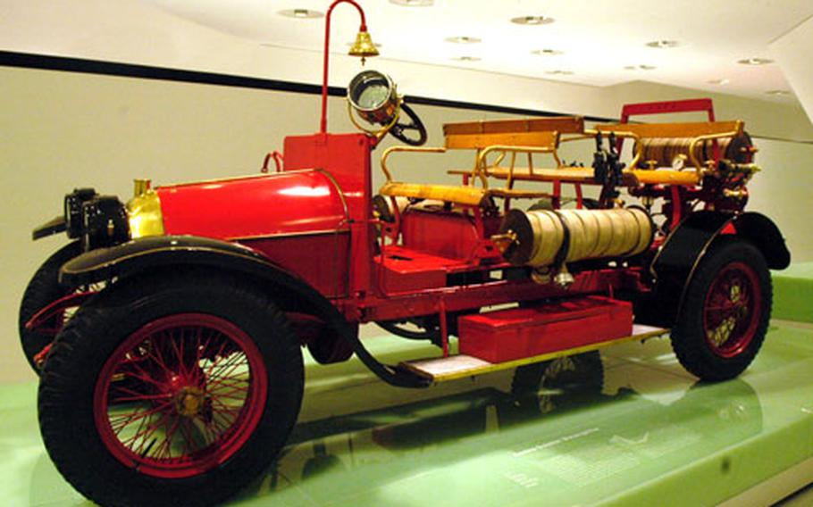 Somewhat out of place amid all the high-performance sport cars is one of Ferdinand Porsche's earliest automotive projects: a fire truck. Built in 1912, the truck is among the roughly 80 vehicles on display at the museum.