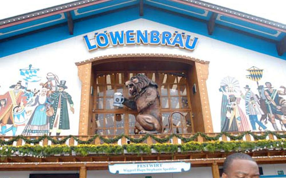 The Löwenbräu tent has a 15-foot plastic lion in front. It roars, or belches, as it tips back a beer