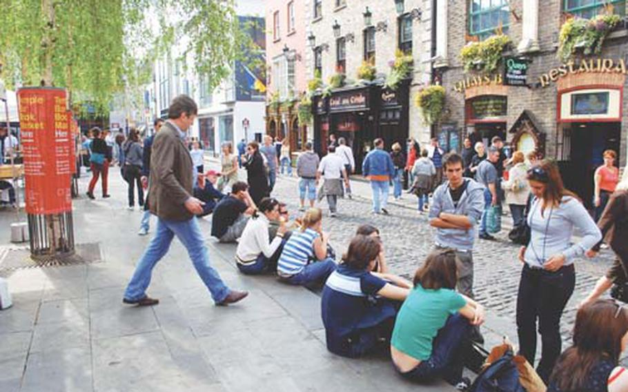 The lively Temple Bar district in Dublin, Ireland, offers plenty of after-golf recreation.