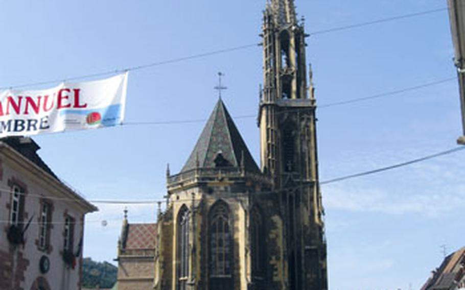 It took about 200 years to build the church, considered by many to be, along with the cathedral in Strasbourg, the finest Gothic church in Alsace. The church's exterior includes a 250-foot tower.