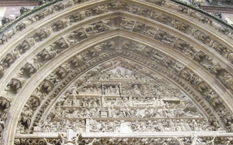 The main tympanum above the entrance to the Collegiate Church of St. Thiébaut in Thann, France, has 150 scenes with more than 500 figures. Many are still in good shape.