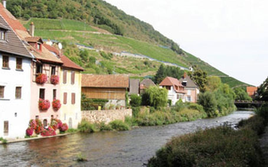 The Thur River runs past Thann, which sits at the southern end of the Route de Vin through the Alsace and the eastern end of the road along the ridge of the Vosges Mountains.