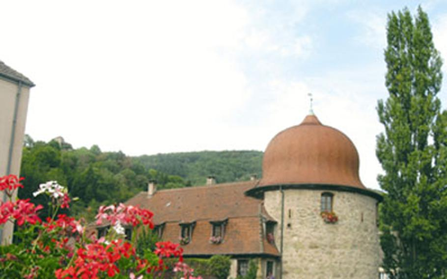The rounded Witches Tower was once part of the town's defensive walls along the Thur River. Today it is a museum and a stop on the town's walking tour.