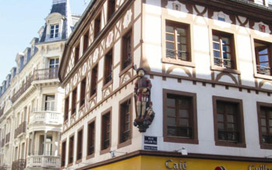 The statue of William Tell — adorning the Guillaume Tell Café — might look misplaced in Mulhouse until you realize the city has long had close ties to the Swiss confederation.