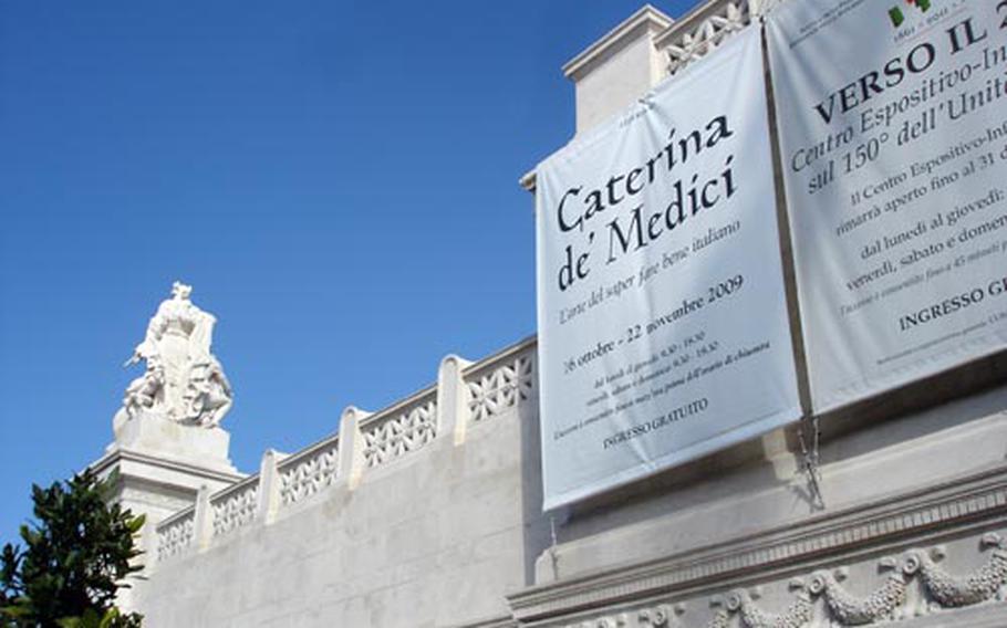 The massive Complesso del Vittoriano in Rome is the site of an art exhibit dedicated to Caterina de' Medici.