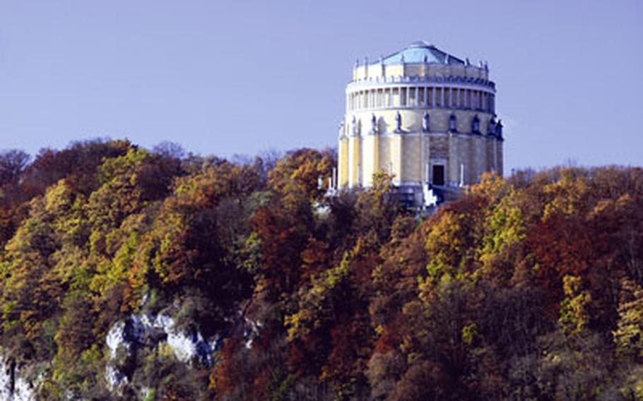 The Hall of Liberation sits on a hillside high over Kelheim at the end of the Danube Gorge. It is one of the manmade sights along the river from Weltenburg Abbey to Regensburg.