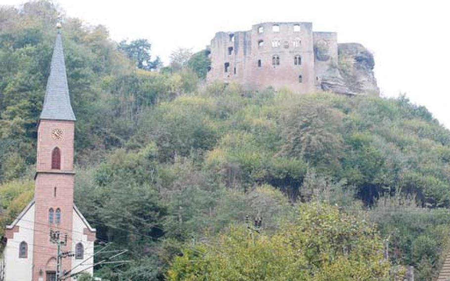 The ruins of Frankenstein castle sit above the village of Frankenstein in Rheinland-Pfalz, about a dozen miles east of Kaiserslautern, Germany.