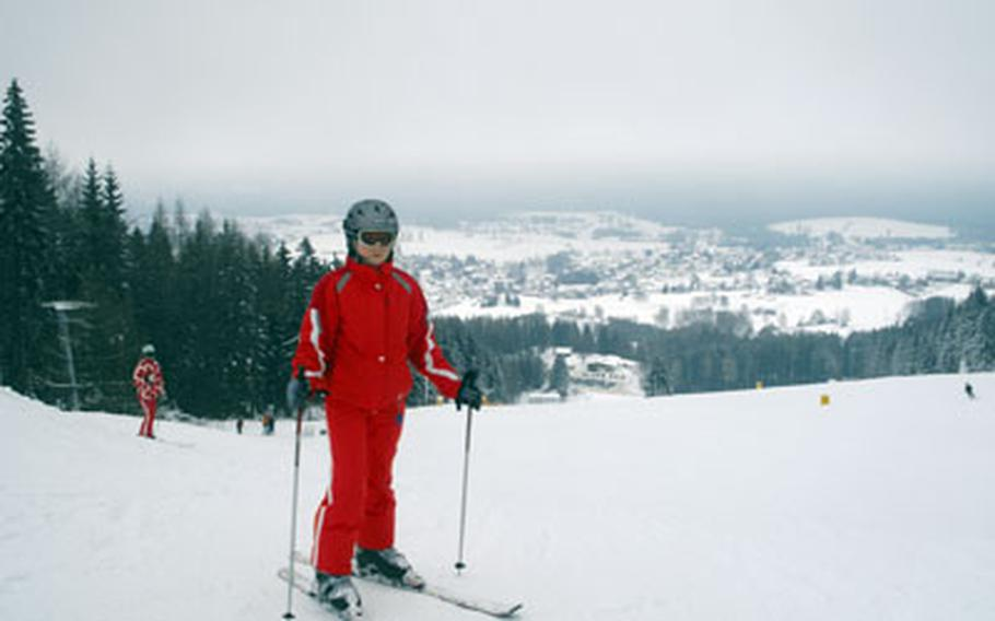 Netzaberg Middle School student Riley Campbell, 12, pauses before starting down the slope at Mehlmeisel, Germany, in December.