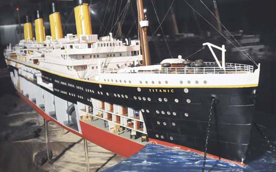 A large model of the Titanic, on a scale of 1 to 100, is on display at an exhibition on the doomed ship at the Wiesbaden Marktkeller. The exhibit runs through May 2.