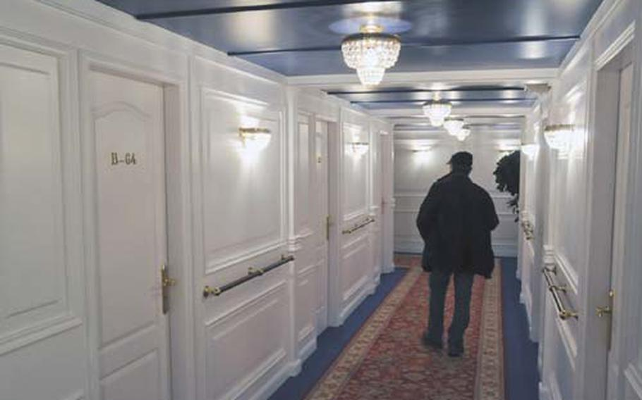 One of the hallways of the first-class section of the Titanic, was re-created in the style of the original ship.