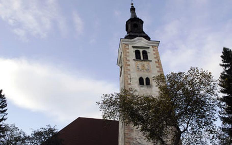 St. Mary of the Assumption, a 17th-century church with a soaring bell tower, sits on the island in Lake Bled and is one of the local attractions. Visitors to Bled can rent a boat and paddle to the island.