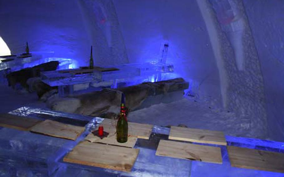The bar at the Snow Village SnowHotel ner Laino, Finland, provides drinks with plenty of ice.