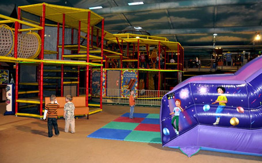 The inside portion of the Tucherland play park in Nuremberg, Germany, covers nearly an acre and is filled with inflatable slides, climbing towers, bouncing castles, trampolines, a climbing wall and more.