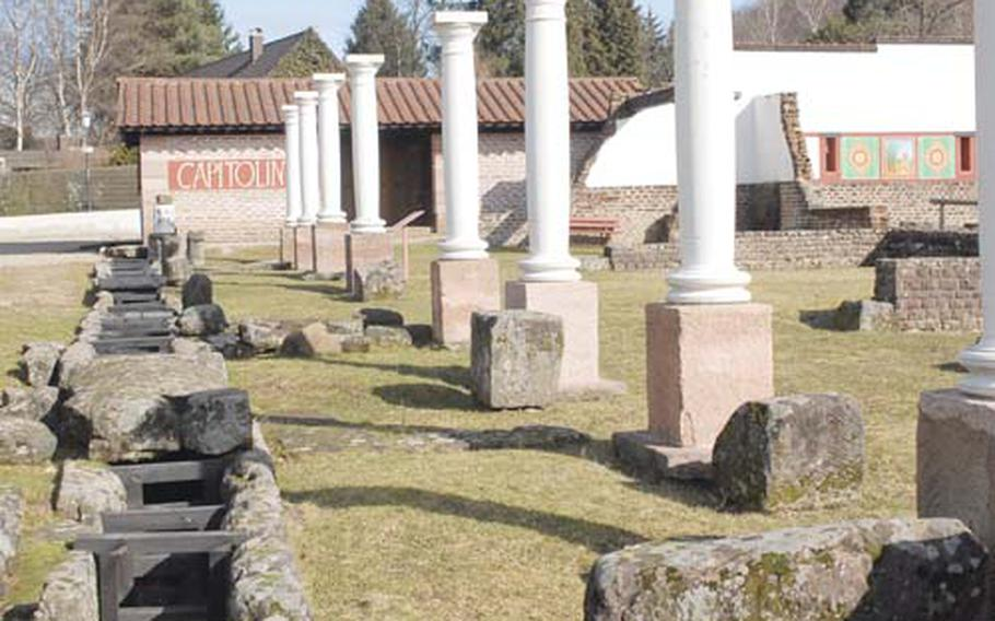 The ruins at the Roman Museum Homburg date back about 2,000 years. They include excavated walls, a drainage trench and other archaeological finds. The museum is less than an hour from Kaiserslautern, Germany.