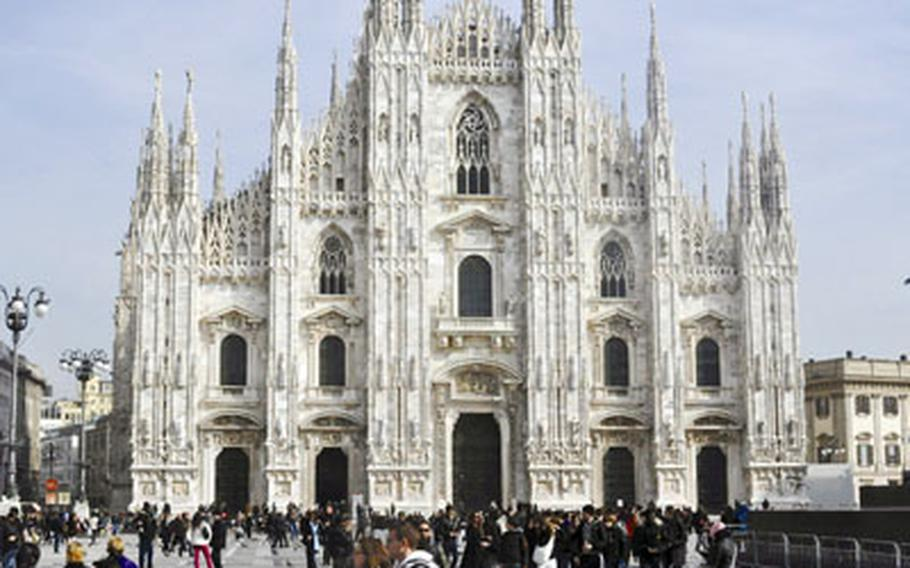 Milan's Piazza Duomo, one of the nicest public squares in Europe, is dominated by its Gothic cathedral. The heavily ornamented structure took about four centuries to construct.