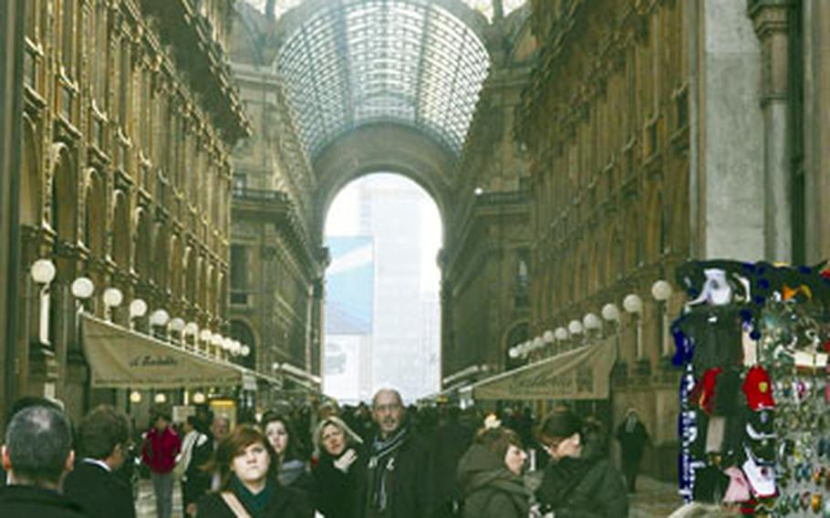 Milan is the fashion and financial capital of Italy. Both aspects are displayed at the Galleria Vittorio Emanuele II, one of the first covered malls in Italy. It was built from 1865 to 1868 and is still one of the city's most recognized shopping areas.