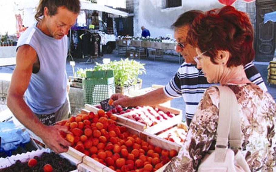 Careful shoppers assess the wide variety of fruits and vegetables available at the market.