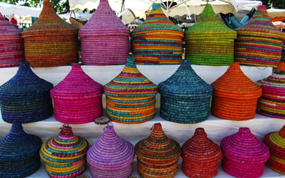 Colorful baskets are a popular item at the market. Many of the wares for sale in Reillanne are brought in by merchants who obtain them in other countries.