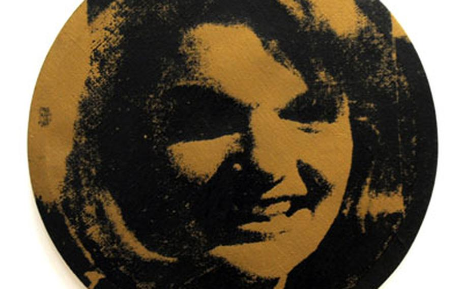 """""""Round Jackie,"""" a 1964 silkscreen print on canvas by Andy Warhol, is on display at museum."""