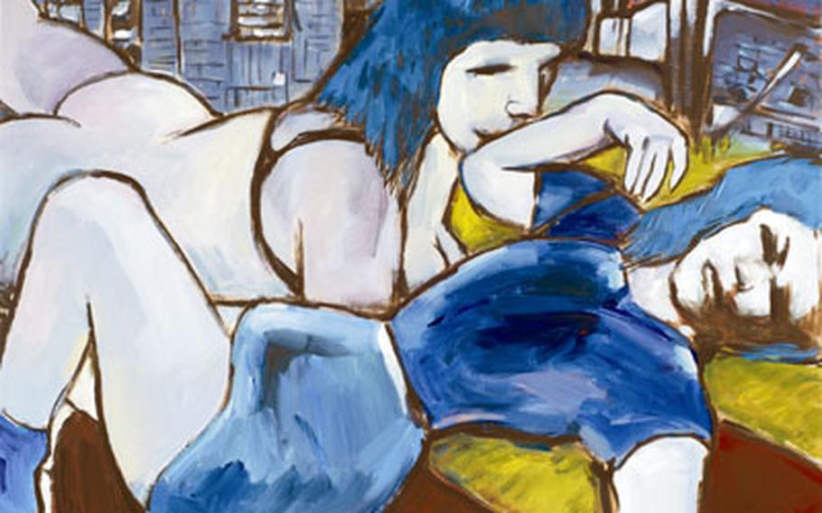 """""""Two Sisters"""" is one of the 4-by-3-foot canvases painted by Bob Dylan on display at the Halcyon Gallery in London."""