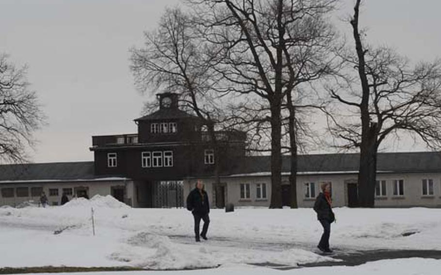 The entry to the area of the Buchenwald concentration camp where Jews, political prisoners and others were held, is marked by a tower. Inside its gates, more than 56,000 people perished during the Holocaust.