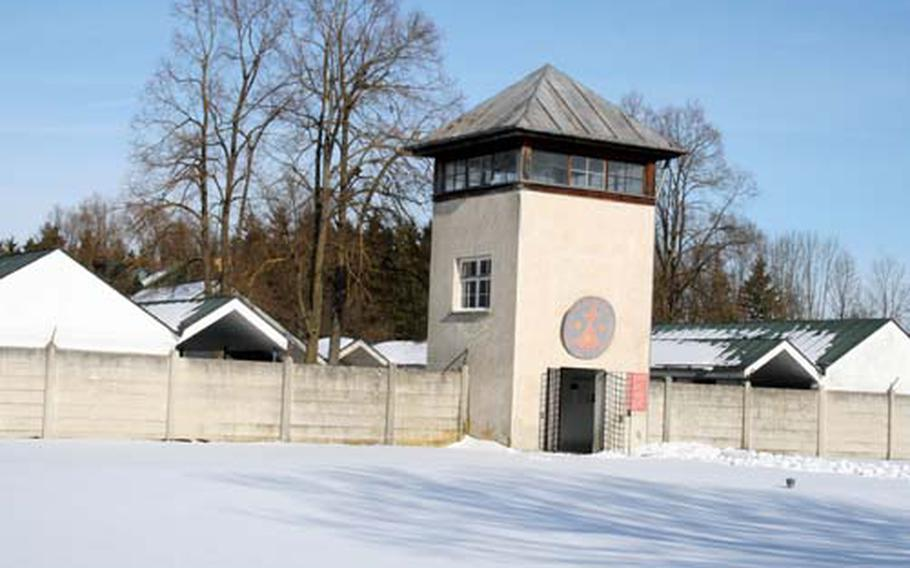 One of the seven guard towers at the prisoner camp -- the living area for those who were incarcerated at Dachau from 1933 to 1945.