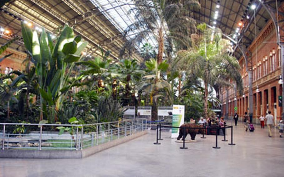 Once the site of a 2004 terrorist bombing linked to all-Qaida sympathizers, Madrid's impressive Atocha Station now calms its passengers with a restful urban forest and classical music.