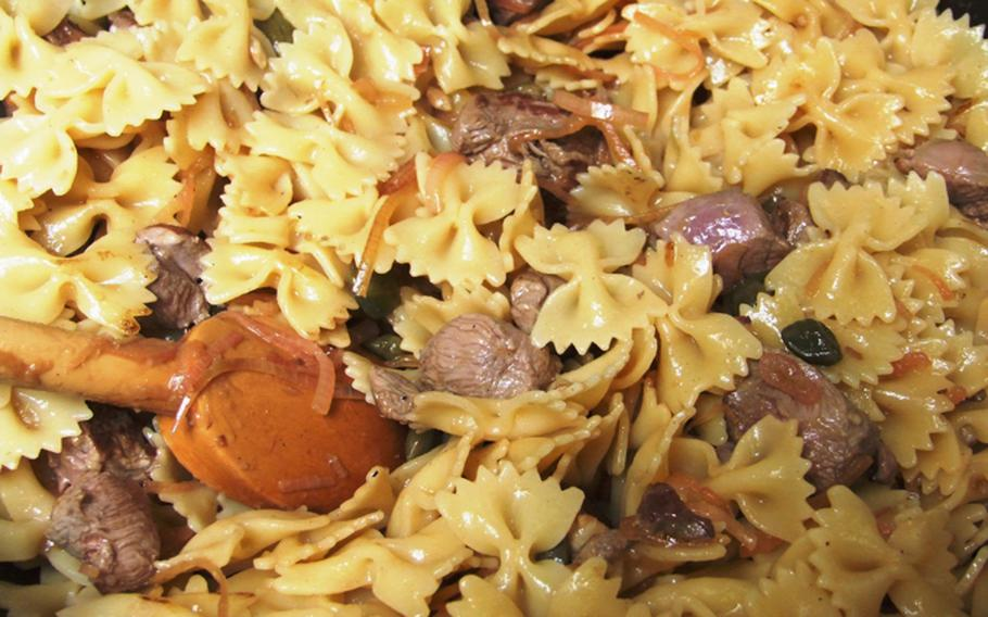 The final product from the cooking class - which the students will consume: Farfalle with duck, lemon and capers.  Very tasty.