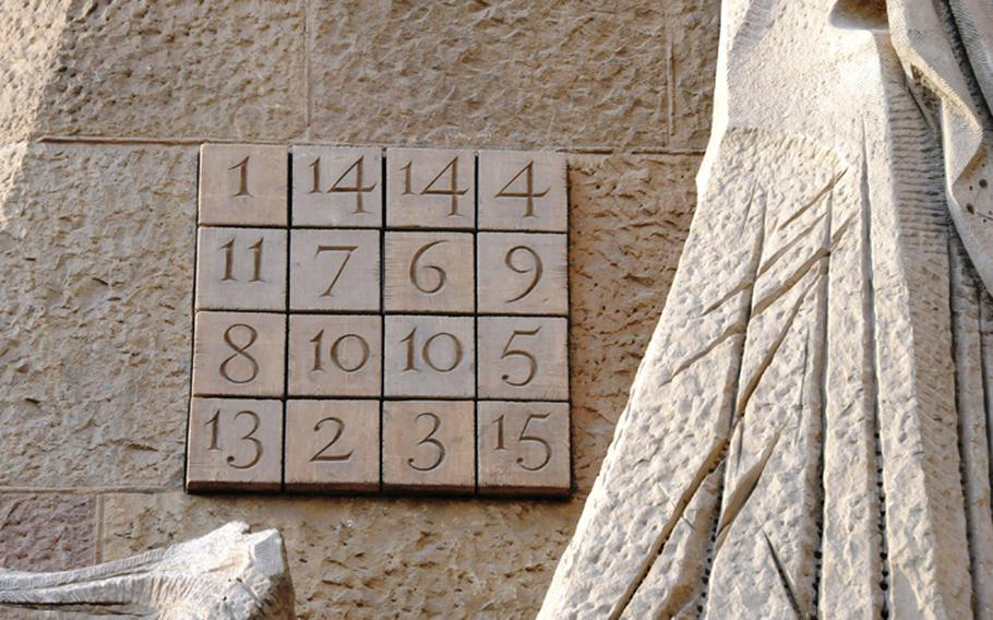 The number puzzle, displayed on La Sagrada Familia, commemorates the age Jesus was said to be when he died. No matter how you add up the numbers , horizontally, vertically or diagonally, the sum always equals 33.